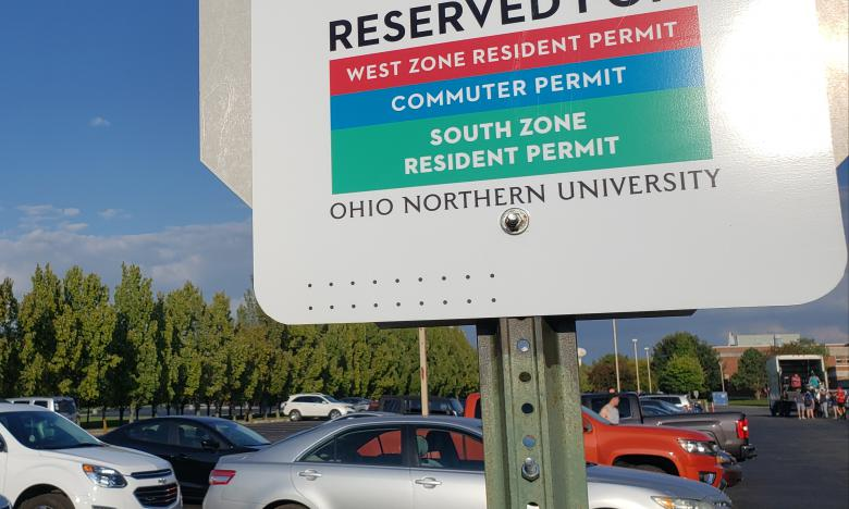 The reserved lot sign in front of King Horn Sports Center